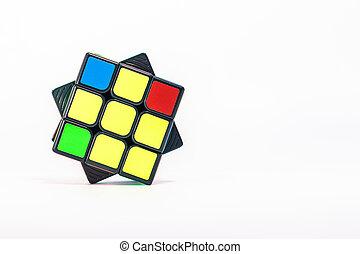 witte , 3x3, blok rubik, achtergrond, close-up