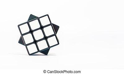 witte , 3x3, rubik'sube, achtergrond, close-up