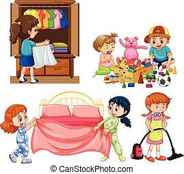 witte achtergrond, goed, housework, kinderen