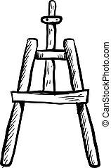 witte , achtergrond., vector, illustratie, schets, schildersezel