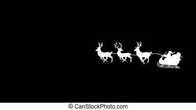 witte , arreslee, wezen, black , kerstman, rendier, getrokken, claus, animatie, silhouette, achtergrond
