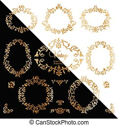 witte , black , ouderwetse , frame, goud, achtergrond, example., vector, achtergrond, antieke
