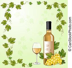 witte , fles, wijntje