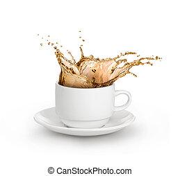witte , gespetter, kop, vrijstaand, koffie