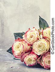 witte , kaart, valentines, feestelijk, bouquetten, selectieve nadruk, dag, rode rozen