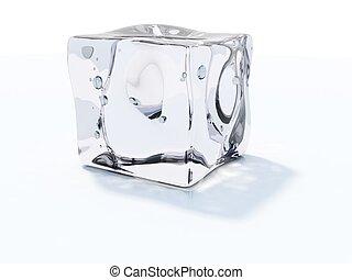 witte kubus, vrijstaand, ijs