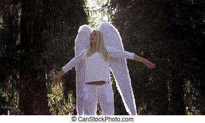 witte , meisje, engel vleugels