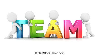 witte , mensen, 3d, team