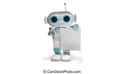 witte , papier, animatie, robot, 3d