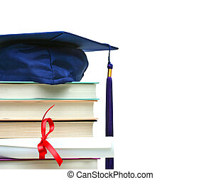 witte , pet, boekjes , diploma, stapel