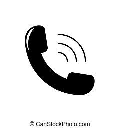 witte , pictogram, telefoon, vrijstaand