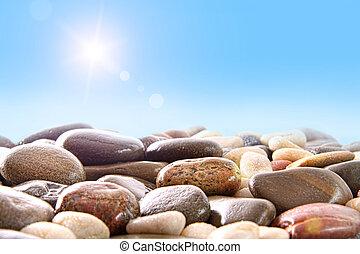 witte , rivier, stapel, rotsen