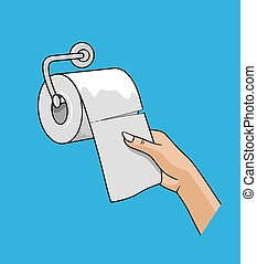 witte , rol, weefsel, trekken, hand, vrouw, op, papier