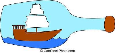 witte , scheeps , achtergrond., vector, fles, illustratie