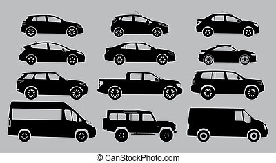 witte , silhouette, achtergrond., auto's