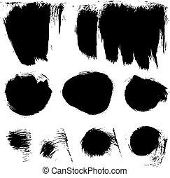 witte , slagen, verf , achtergrond, textured, 2., trekken, dik, anders, borstel, set, vector