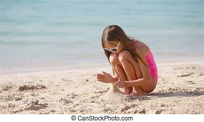 witte , tropische , meisje, zand, weinig; niet zo(veel), kasteel strand, vervaardiging