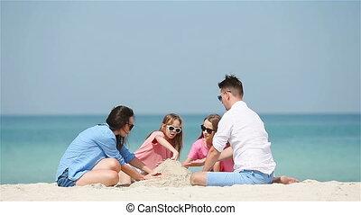 witte , tropische , zandkasteel, gezin, vervaardiging, strand, vier