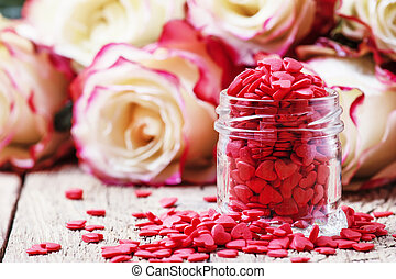 witte , valentines, pot, roze, samenstelling, hart, fris, achtergrond, ouderwetse , zoet, houten, selectieve nadruk, dag, glas, rode rozen