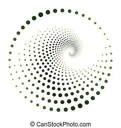witte , vector, vrijstaand, model, spiraal, groene, punten