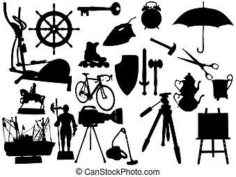witte , voorwerpen, silhouette, achtergrond