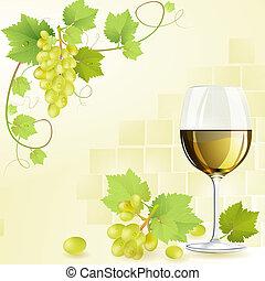 witte wijn, glas, druiven