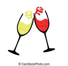 witte , wijnglas, rode wijn