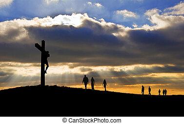witth, wandelende, goed, silhouette, christus, mensen, vrijdag, op, kruis, naar, heuvel, kruisiging, jesus, pasen