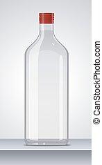 wodka, illustration., glas, cap., vector, fles, rood