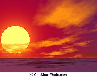 woestijn, zonopkomst, rood