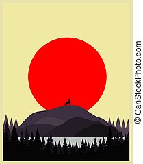 wolf, fullmoon, silhouette