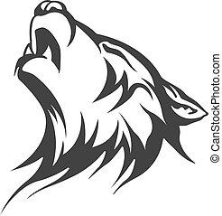 wolf, ontwerpen, van een stam, tatoeëren