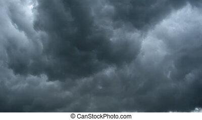 wolk, dramatisch, timelapse, regen, achtergrond