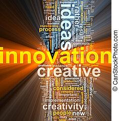 wolk, innovatie, woord, gloeiend