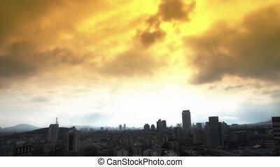 wolk, op, high-rise., gebouwen stad