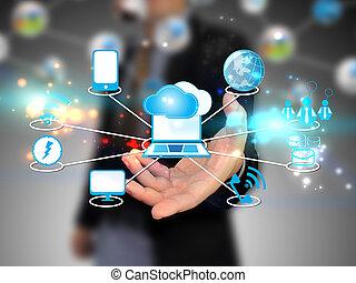 wolk, vasthouden, zakenman, technologie, gegevensverwerking, concept