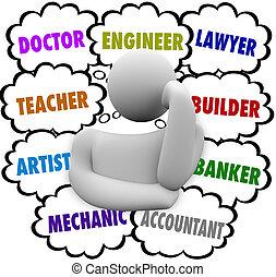 wolken, carrière, keuzes, gedachte, denker, zich verwonderend over, beroep