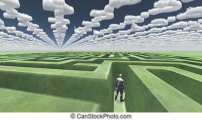 wolken, gevormd, vraagteken, doolhof, man