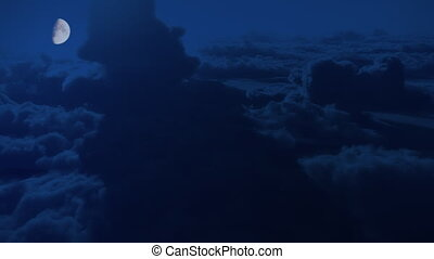 wolken, hoog, vlucht, hoogte, maanlicht, dramatisch, nacht, luchtopnames