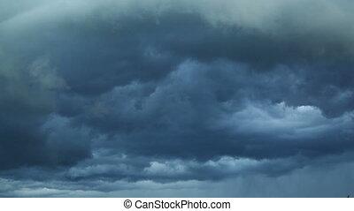 wolken, kijker, timelapse, -, vasten, donker, verhuizing, storm