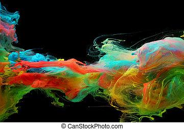 wolken, kleurrijke, water, helder, inkt, vermenging
