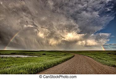 wolken, prairie, hemel, storm, saskatchewan
