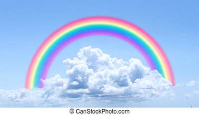 wolken, regenboog