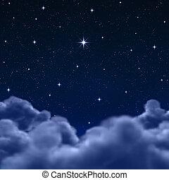 wolken, ruimte, hemel, door, nacht, of
