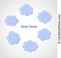 wolken, vector, set, textured