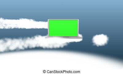 wolken, video, draagbare computer