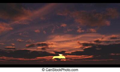 wolken, zon, voorbijgaand, opstand