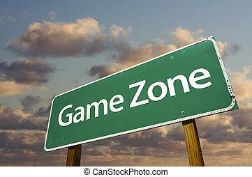 wolken, zone, meldingsbord, spel, groene, straat