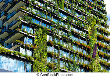wolkenkrabber, facade, planten, gebouw, groene