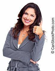 woman., success., zakelijk, vrolijke